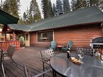 Front large deck with a Gas BBQ for grilling your favorite meals. Lots of room for family and friends to gather...