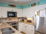 Kitchen with all appliances, pots, pans glass and dish ware for your use.  Mr coffee maker