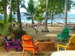 Right in front of your #3 enjoy 1 of many hammocks,beach chairs & BBQ :)