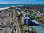 Just across the street is the Gulf of Mexico.  Complex with community pool and private tennis courts.