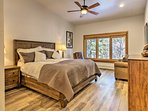 The master bedroom features a California king-sized bed.