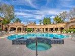 Enjoy pool access on your sunny retreat.
