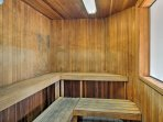 Let your stresses slip away with a visit to the sauna.
