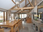 This dining area is perfect for dinner parties with seating for eight