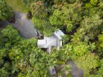 Aerial view of Daintree Secrets tucked into the worlds oldest living rainforest.