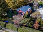 Beautifully landscaped, private, half acre lot.