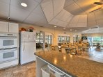 The clubhouse hosts a kitchen and dining area.