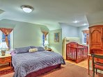 Avoid packing the crib since this king bedroom conveniently provides one!