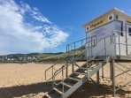 life guarded beach in summer