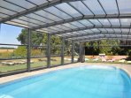 Heated and covered swimming pool at Luxury Loire Gites - Clos de La Richaudiere in the Loire Valley