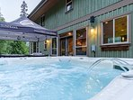 8 Person hot tub. Even has jets that goes up and down and massages your spine.