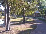 Park with foot and bicycle path just 500m from the property