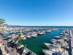 Great sea views from all rooms and terraces in first line apt for rent Puerto Banus, Marbella Spain