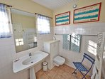 Large family bathroom.   Linen is provided.