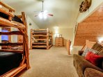 Second bedroom/loft on upper level with two Queen over Queen bunk beds
