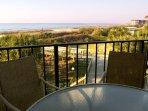 Veranda w/panoramic view of ocean and towards pool; new chairs
