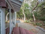 The home is snuggled in the maritime forest with great privacy