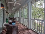 Plenty of room for outdoor dining in the screened in porch areas