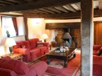 Huge lounge complete with period features and Inglenook Fireplace.
