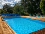 Our heated pool reaches temperatures of 30 degrees in the summer