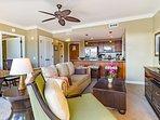 Spacious living area offers a queen convertible sofa sleeper