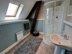 Spacious upstairs bathroom with walk in shower