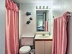 Wash off the sand in the en-suite bathroom.