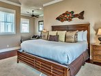 The Master Bedroom sits proudly on the third floor and features a king bed and private balcony.