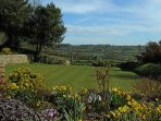 Our beautiful well kept grounds with views towards the Otter Valley and beyond.
