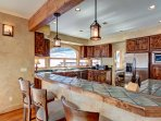 Kitchen with views and bar seating