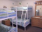 Kids bedroom with two bunk beds (twin over twin and twin over full bunk beds)