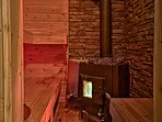Let your stresses slip away with a visit to the wood-fire sauna.