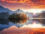 The sunrise in Bled