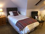 Thistle room upstairs has 2 single beds and stunning view over the Dornoch Firth