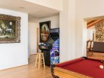 Pool Table Room with 100 Game Old School Video Arcade