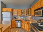 The kitchen features ample counter space.