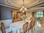 Savor meals and quality time together around the 8-person dining table.