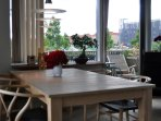 Dining area in the open plan apartment