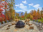 Your family and friends will enjoy the fabulous new fire pit at Timber Wolf Lodge