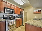 Utilize the ample granite counters for meal preparations each evening.