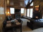 Newly Updated 5 BR has a Nice Fireplace, 55 inch TV with Dish Satellite and Internet.