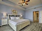 Just steps from the luxurious master bathroom, this room feels like a luxury hotel room.