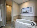 Take a relaxing soak in the jetted tub after a day at the beach.