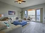 As you luxuriate in the living room you'll have panoramic bay views.