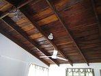 Hardwood ceiling.