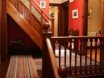 The pitch pine staircase leads to the first floor landing