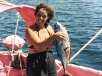 Sandra some years ago aboard her sailboat in Sea of Cortez during her 7-year singlehanded odyssey