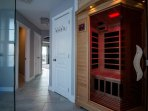 Private sauna with Bluetooth speakers and color changing lights