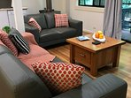 A 2 and 3 seater couch allow you to enjoy your favourite show, movie and enjoy the garden and fire.