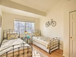 The kids will love the 2 twin beds in the second bedroom.